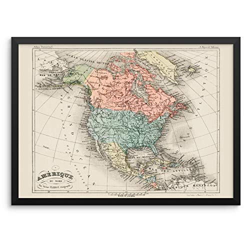 Vintage North America Countries Wall Decor Poster Art Print - Cartographic Map of United States of America, Canada and Mexico -11'x14' UNFRAMED - Historical Western Hemisphere Atlas by Arthème Fayard
