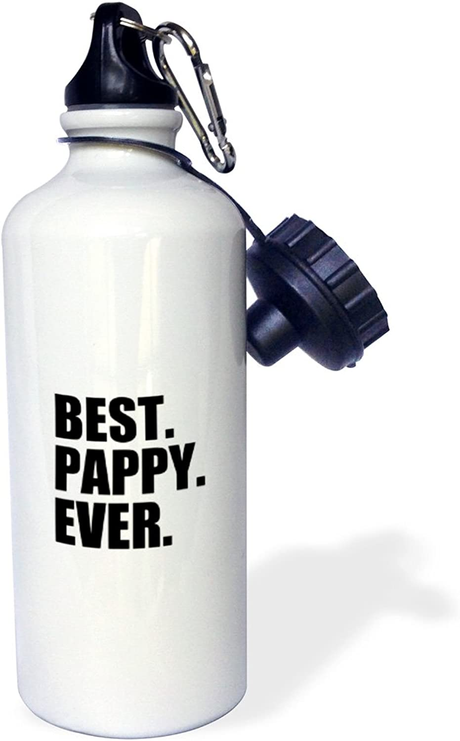 3dpink wb_151515_1  Best Pappy EverGifts for GrandfathersGranddad Grandpa nicknamesblack textfamily gifts  Sports Water Bottle, 21 oz, White