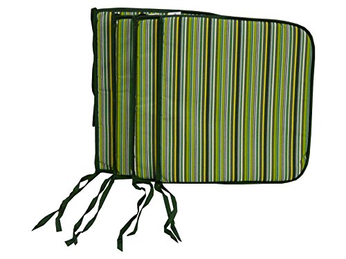 Maffei Art 510 Coussin Coton Galette (Assise) cm.41x39x2. Made in Italy. Dessin Bay Vert. Lot de 4 pièces
