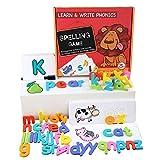 Aibecy Juego de palabras de ortografía de madera Tarjeta de reconocimiento de letras Rompecabezas Montessori Práctica de escritura de letras STEM Regalo educativo temprano para niños de 4 a 6 años