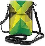 La moda del teléfono celular monedero abstracto bandera geométrica nacional pequeña Crossbody bolsos mujeres niña pu bolso de hombro bolso