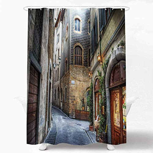 Beautiful Italy Decorative Shower Curtain, Florence Italy Shower Curtain for Shower Stall Bathtubs Bathroom Decor Waterproof Funny Shower Curtain with Grommets Standard Size 72x72 Inch