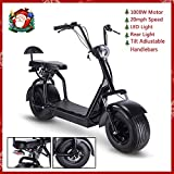 TOXOZERS Adult Citycoco 1000W Fat Tire Scooter with LED Light Electric Power Scooters WERCS Battery Certificate(Black)