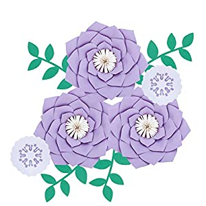 Fonder Mols Artificial Dahlia Paper Flower Decorations for Nursery Wall Decor, Baby Shower Backdrop (Mauve)