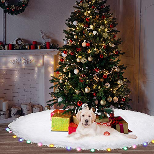 60 Inch Christmas Tree Mat - Christmas Tree Skirt with RGB LED Light - White Luxury Fur Christmas Tree Skirt Decorations for Xmas New Year Home Party