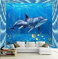 3D壁紙ポスターイルカカスタム大規模な壁紙の壁紙3Dテレビの背景リビングルームの写真の壁紙3Dルームの壁紙-350X250cm