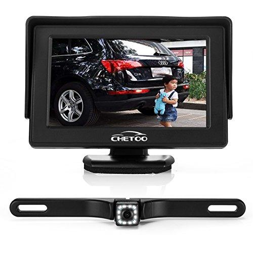 Kit caméra de recul et moniteur haute définition 12 LED vision nocturne étanche avec plaque d'immatriculation + écran TFT LCD 4,3\