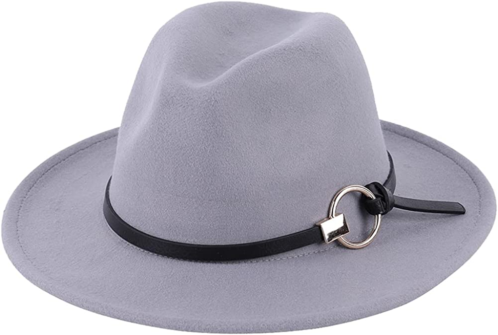 Womens Winter Spring Vintage Hoop Belt Felt Fedora Hat, Wide Brim Fashion Panama Cap for Women