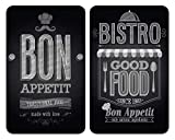 WENKO Placas cobertoras de vidrio universales Bon Appetit, juego de 2 piezas para todos los tipos de cocinas, Vidrio endurecido, 30 x 52 cm, Multicolor