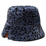 BLUEXIAO Sombrero de peluche para mujer, estilo vintage, diseño de leopardo, para invierno, para pescador