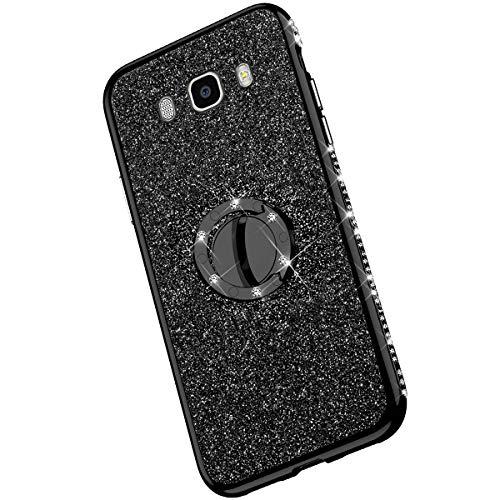Saceebe Compatible con Galaxy J7 2016 Funda TPU silicona,Glitter Diamante con bordes Soporte de anillo redondo Funda TPU Silicona Suave Cubierta de la carcasa protectora [Anti-Scratch],negro