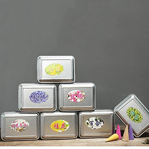 MJJEsports 50 Stks/doos 7 Geuren Backflow Wierook Kegel 15 minuten Home Decor Geurige brander Censer Kegels, Lavender, 1