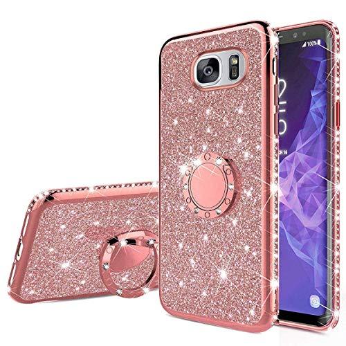 Nadoli Glitzer Hülle für Galaxy S7 Edge,Kristall Diamant Strass Bumper mit 360 Ring Kickstand Silikon Schutzhülle Handyhülle Frauen Mädchen für Samsung Galaxy S7 Edge,Roségold