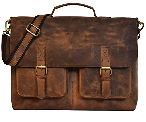 kk's 16 Inch Retro Buffalo Hunter Leather Laptop Messenger Bag Office Briefcase College Bag Leather Bag for Men and Women