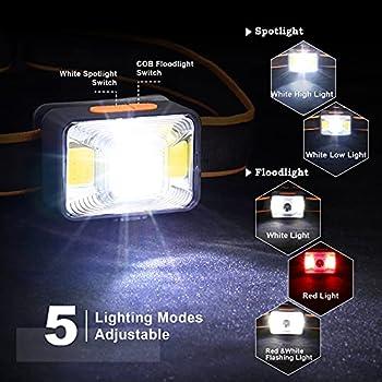 Lampe Frontale Rechargeable USB, Torche Frontale 1000mAh 1800 Lux Super Lumineuse avec 5 Modes d'éclairage Lampe Frontale COB Etanche IPX5 pour la Pêche/le Camping/le Cyclisme/la Chasse/la Randonnée