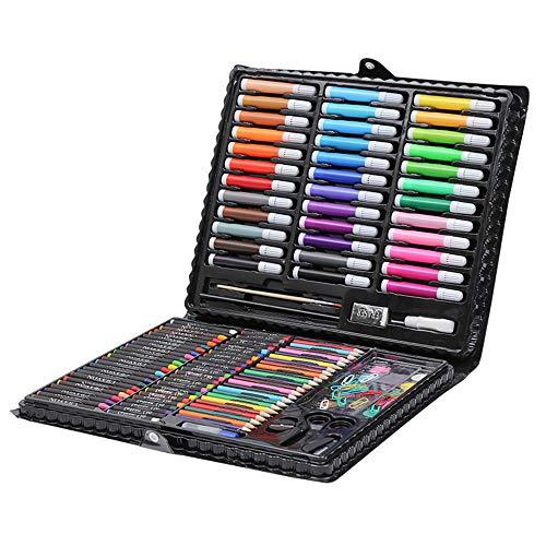 Estuche Colores,Niños Acuarela Lápiz 150 unids Niños Dibujo Kit de Artista Crayón Pintura al óleo Brocha Herramienta y Bosquejo Material de dibujo Set con Caja para Papelería Escolar
