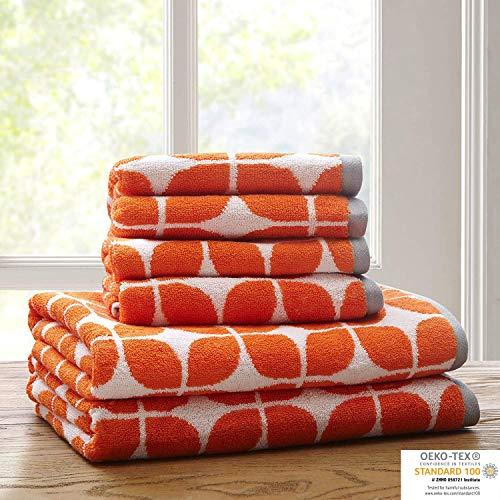 Lita Cotton Bathroom Towels , Jacquard Highly Absorbent Bath Towel Set , 6-Piece Include 2 Bath Towels & 4 Hand Towels , Orange Grey
