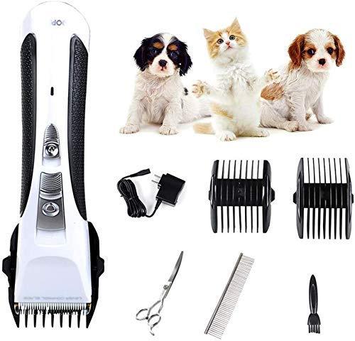Pelo tijeras de la herramienta de corte for mascotas Clippers de bajo ruido inalámbrico recargable del pelo de perro Clippers Clippers Peluquería Canina Pet Grooming Kit, Perro máquina de afeitar con