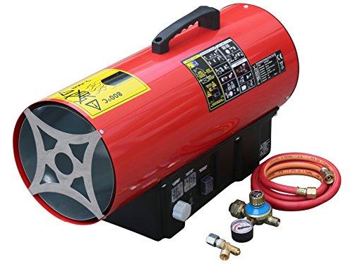 Rotek Gas-Direktheizer mit 30 kW Heizleistung und integriertem Thermostat, Rotek HG-30-230-TI im Set mit Druckregler, Schlauchbruchsicherung und Schlauch