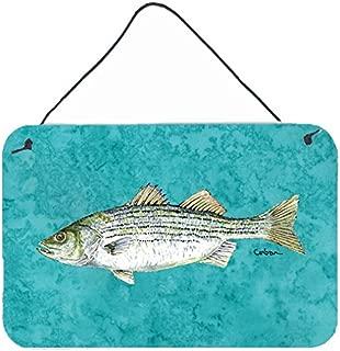 Caroline's Treasures Striped Bass Fish Aluminum Metal Wall or Door Hanging Prints, 8 x 12