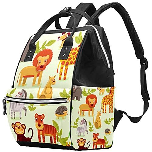 WJJSXKA Mochilas Bolsa de pañales Laptop Notebook Mochila de viaje Senderismo Daypack para Mujeres Hombres - animais zoo