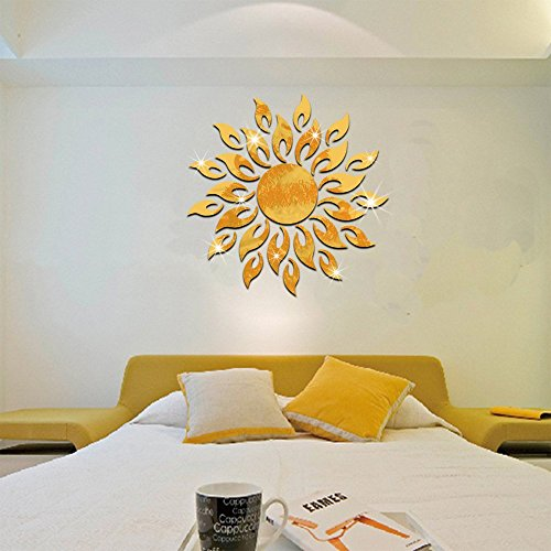 Pegatinas de Pared de 3D Sol Brillante Espejo Oro Calcomanías de Pared Desprendibles del Arte de la Moda de DIY de Doble Cara Decoración de Pared para Sala de Estar, Dormitorio, Hogar -27 Partes