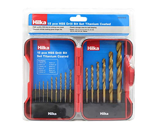 Hilka Tools 49707015 15 PCE HSS Drill Bit Set Titanium Coated