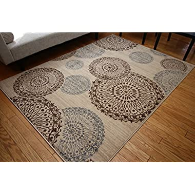 Feraghan/New City feraghan4030beige_8x11 Contemporary Modern Flowers Wool Area Rug, 8' x 10', Brown/Beige