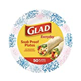 Glad Round Disposable Paper Plates for All Occasions | Soak Proof, Cut Proof, Microwaveable Heavy Duty Disposable Plates | 8.5' Diameter, 50 Count Bulk Paper Plates, Pink Hydrangea | Glad Paper Plates
