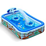 """Hamdol Inflatable Swimming Pool with Sprinkler, Kiddie Pool 99"""" X 72"""" X 22"""" Family Full-Sized Inflatable Pool, Blow Up Lounge Pools Above Ground Pool for Kids, Adult, Age 3+, Outdoor, Garden, Party"""