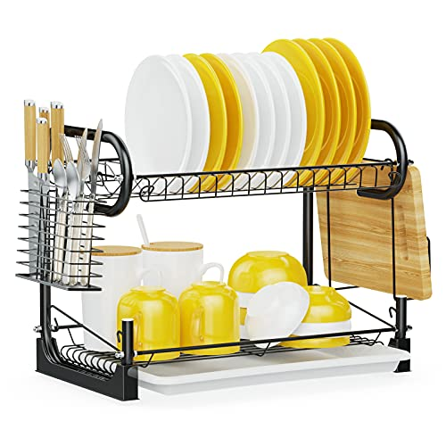iSPECLE Dish Drying Rack 2 Tier Dish Rack with Utensil Holder, Cutting Board Holder and Dish Drainer for Kitchen Counter, Plated Chrome Dish Dryer Black