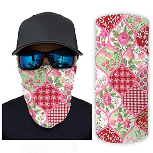 TATA95 3D digitale Grafik Laterne Form rosa Blumen Hals Gamasche Sturmhaube Gesichtsmaske Stirnband Bandana 3D-Druck Kopfwickel