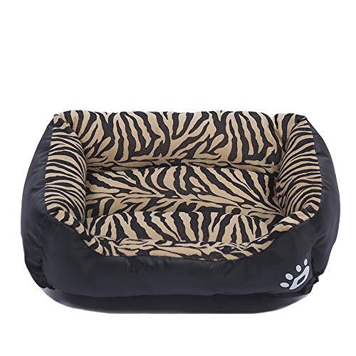 HJHY@ Dog Bed Snoepkleurig Vierkant Hond Bed Waterdicht Oxford Hondenmand Bed Medium Huisdier Bed Slaapmat Zelf Opwarmen En Ademend Premium Beddengoed Voor Kleine Medium Grote Hond Kat X-Large Zwart