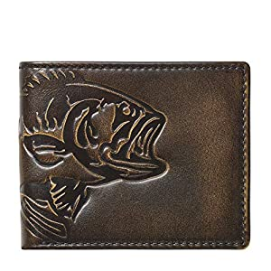 HOJ Co. BASS FISH Bifold Wallet With Flip ID | Full Grain Leather With Hand Burnishing | Fish Wallet | Mens Bifold