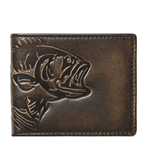 HOJ Co. BASS FISH Bifold Wallet With Flip ID | Full Grain Leather With Hand...