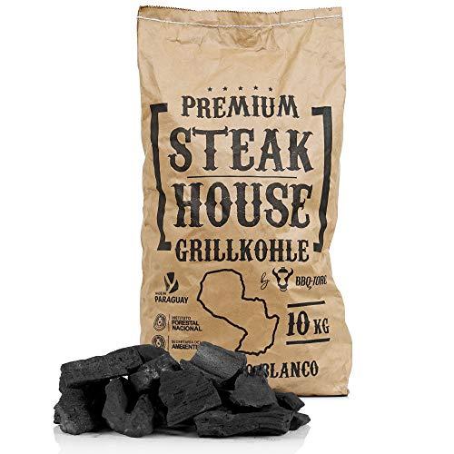BBQ-Toro Premium Steak House Grillkohle | 10 kg | Querbracho Blanco Kohle | Holzkohle in Restaurant Qualität | Steakhousekohle