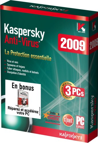 Kaspersky Anti-virus 2009 (3 postes, 1 an) + System Mechanic