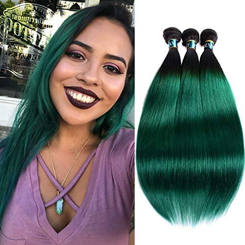 SEXAY Ombre Straight Hair 3 Bundles Brazilian Virgin Human Hair Bundle Two Tone Black to Green 100% Remy Hair Extensions (14'' 16'' 18'', 1B/Green)