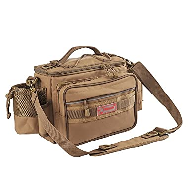 Fiblink Waterproof Outdoor Multifunctional Fishing Tackle Bag Shoulder Bag and Handbag or Waist Bag Fishing Gear Storage for Fishing Hiking Climbing (Khaki)