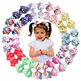 24PCS 4.5Inch Unicorn Hair Bows For Girls Boutique Grosgrain Ribbon Rainbow Hair Bow Alligator Hair Clips Pigtail Bows Hair Accessories For Baby Girls Little Girls Toddlers Children Kids (12 Pairs)
