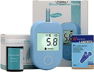 FJLOVE Medidor de glucosa en Sangre Kit/Control de la Diabetes Kit con 50 Tiras reactivas de Sangre,50 lancetas y 1 medidor de glucosa en Sangre para diabéticos en mmol/L