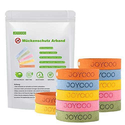 Joycoo Mückenschutz Armband 12er-Pack Insektenschutz-Armband 100% natürlich, Deef-Frei, ungiftiges, sicheres Armband für Kinder, Erwachsene und Haustiere während des Campings Reisen