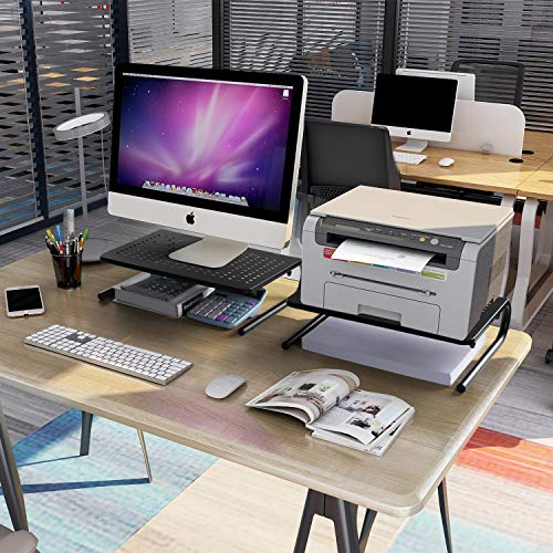 LORYERGO Monitor Stand Riser - Metal Monitor Stand with Vented Holes, Desktop Computer Monitor Riser for Storage Organization, 14.5 inch Screen Riser for Computer, Laptop & Printer