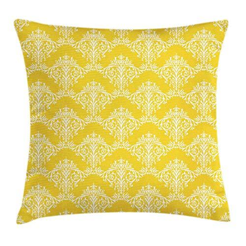ETGeed Patrón de rococó renacentista con Motivo Floral Victoriano Funda de Almohada Cuadrada de Arte Barroco
