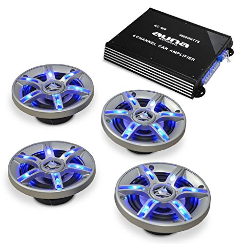 auna Car-HiFi Lautsprecher-Verstärker-Set BeatPilot FX-401 4-Kanal Endstufe 4000 Watt + 4 Einbaulautsprecher (LED-Lichteffekt, brückbar zu 3-2-1-Kanal-Betrieb, inkl. Kabel-Set)