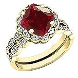 Dazzlingrock Collection Juego de anillos de compromiso con halo de diamantes redondos de 14 quilates, talla G antigua, 7 mm