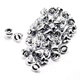 50PCS Wheel Rim Lip Rivets Nuts of 7.5mm/0.3in Hole Replacement Plastic Chrome Silver Rivets