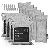 Pura Premium Activated Charcoal Bags Odor Absorber (16 Piece Set: 4x200g, 6x75g & 6 hooks) Powerful Bamboo Charcoal Air Purifying Bag - Shoe Deodorizer, Car Deodorizer, Charcoal Odor Absorber for Pets
