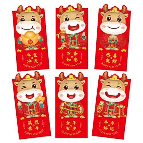 Nrpfell 12 Unids/Pack Bolsas de Dinero Sobres Rojos de Dibujos Animados Paquete de Dinero de A?o Nuevo Suministro de Fiesta para A?o Nuevo Regalo de Ni?Os Estilo Aleatorio