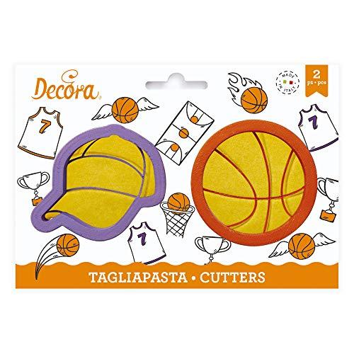 Kit 2 TAGLIAPASTA a Forma di Pallone e Cappello Berretto da Basket Basketball pallacanetro - formine stampi Taglia Biscotti per Creare Dolci e decori Torte - Ideale per Decorazioni Pasta di Zucchero